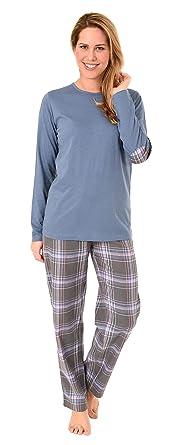 NORMANN WÄSCHEFABRIK Damen Flanell Pyjama Mix & Match Hose Flanell Top Single Jersey - auch in Übergrössen 281 201 90 244