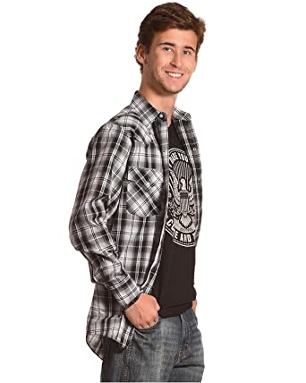 a2831e19b51 ELY CATTLEMAN Men s Plaid Long Sleeve Western Snap Shirt Black Small ...