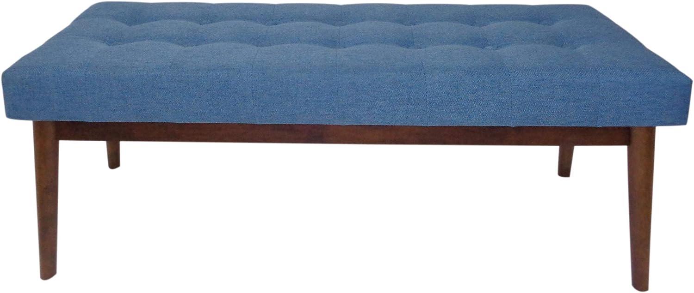 Christopher Knight Home Flavel Mid-Century Tufted Fabric Ottoman, Blue / Walnut