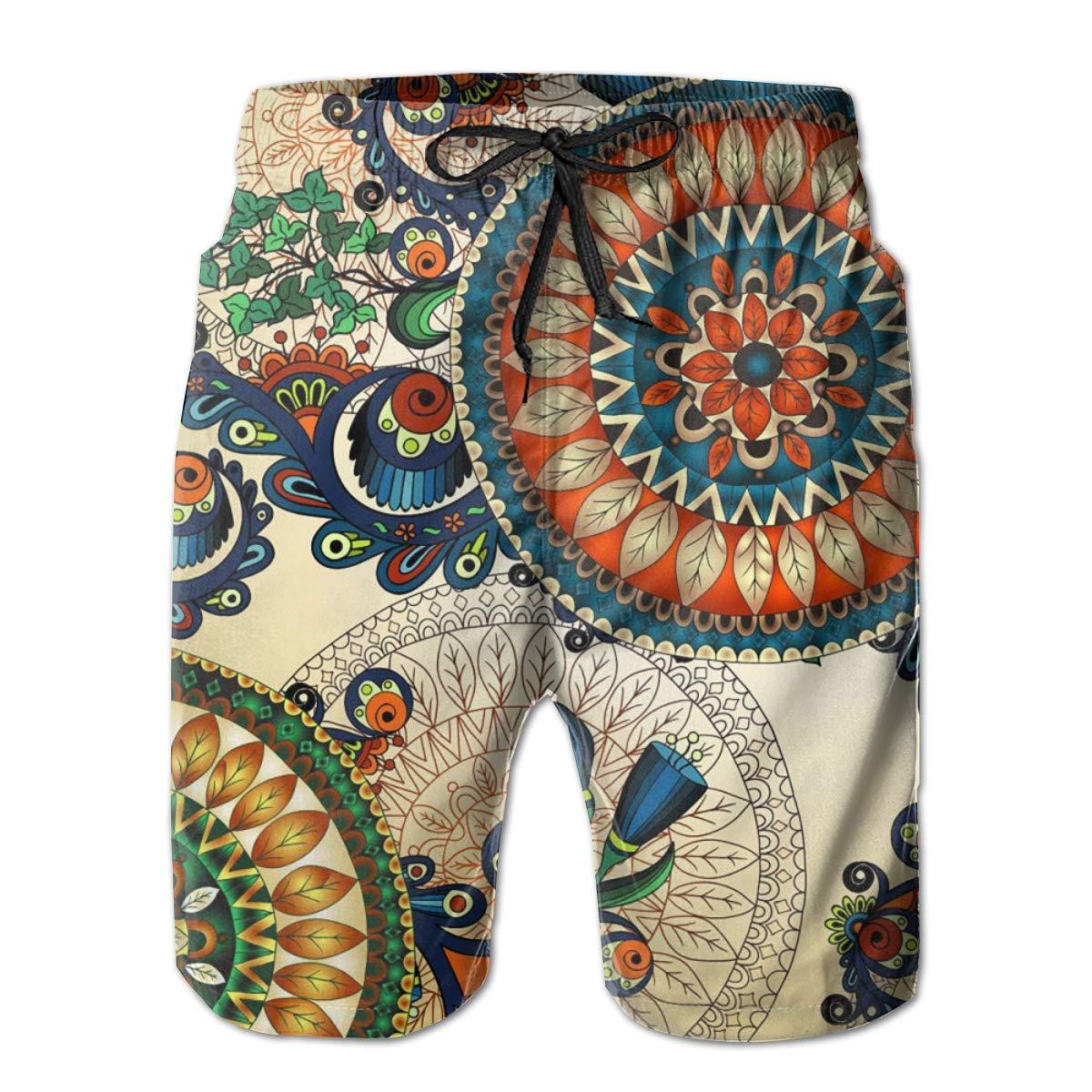 Airealy Men/'s Summer Beach Trunks Tribal Nation Totem Drawstring Elastic Waist Quick Dry Swim Short Pants