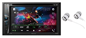 "Pioneer AVH-110BT Double DIN 6.2"" WVGA Touchscreen Display Bluetooth In-Dash DVD/CD AM/FM Front USB Digital Media Car Stereo Receiver, Android Music Pandora and Spotify Support/FREE ALPHASONIK EARBUDS"