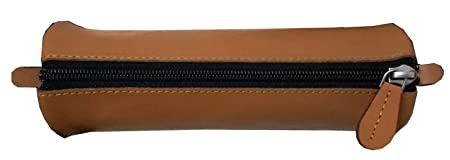 Printelligent Genuine Leather Pencil Pouch   Brown Pack of 1 Pouches  Cosmetic Bags