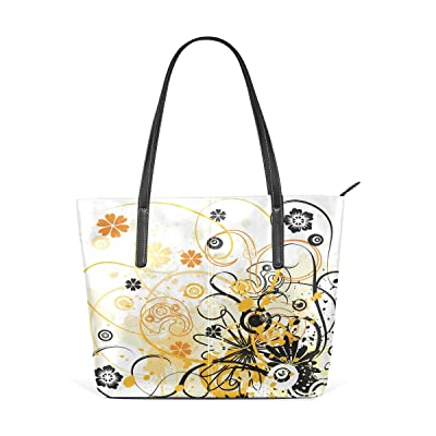 new concept 6bb2d 43f5e Womens Leather Top Handle Shoulder Handbag Orang And Black Large Work Tote  Bag