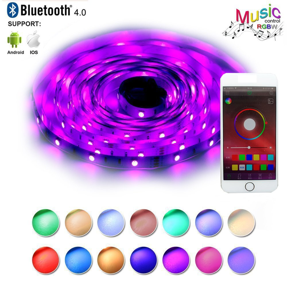 LED Strip Lights Sync to Music Smart Phone Bluetooth Controlled 5m 16.4ft RGB 150LEDs 5050 12V Flexible Color Changing Light Strip Full Kit Working with Android,iOS APP