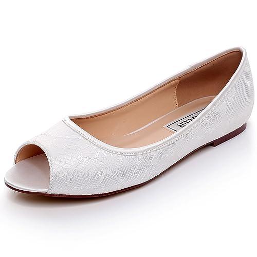 Ivory Ballet Flats Wedding   Amazon Com Luxveer Ivory Lace Flat Shoes Wedding Flats Peep Toe