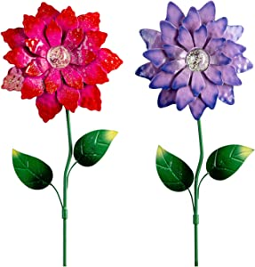 hogardeck Metal Flower Garden Stakes Decor, 26 Inch Weatherproof Sunflowers Ornament with Shaking Head & Glow in Dark, Metal Plant Sticks Spring Yard Art Decoration for Patio, 2 Pack(Purple & Red)