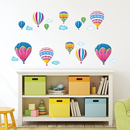 Decowall dw 1301ac 2 12 hot air balloons in the sky kids wall stickers