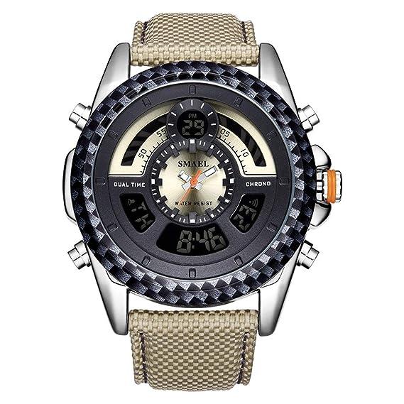 Beydodo Reloj Cuero Reloj de Pulsera Reloj Hombre Reloj Impermeable Reloj Deportivo Reloj Multifunción Relojes Electronicos Caqui: Amazon.es: Relojes