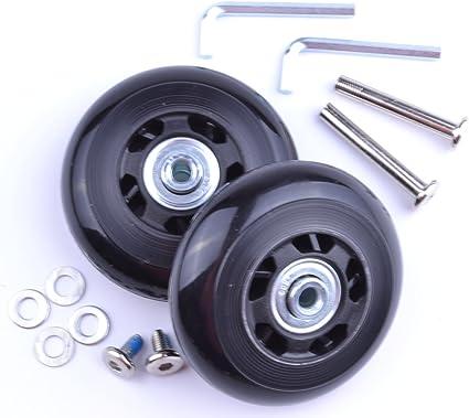 Juego de 2 ruedas de maleta con ejes 60/x 18/mm de repuesto rodamientos y llaves