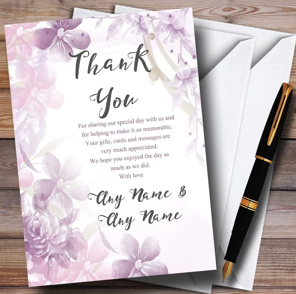 Pale Purple Watercolour Floral Personalized Wedding Thank You Cards