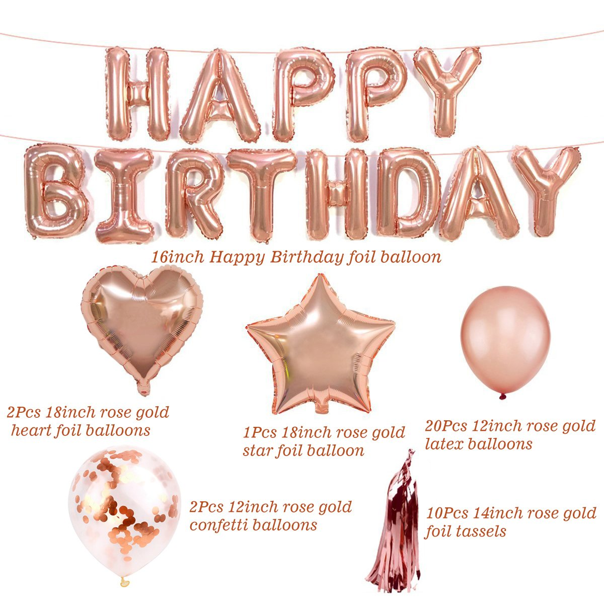 Rose Gold Happy Birthday Balloons Decorations Set Party Supplies Girls Women Star Heart Foil Balloons Confetti Latex Balloons Happy Birthday Banner Tissue Paper Tassel Garland with Inflator Ribbon Kit