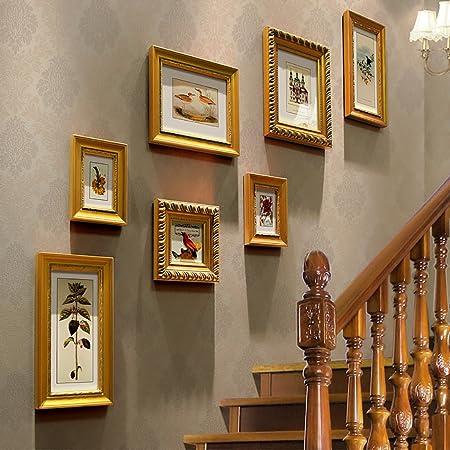 JLRQY Marco de fotos para pared, diseño de escaleras de madera, para colgar cuadros y decoración, para obras de arte y pasillo familiar, juego de 7: Amazon.es: Hogar