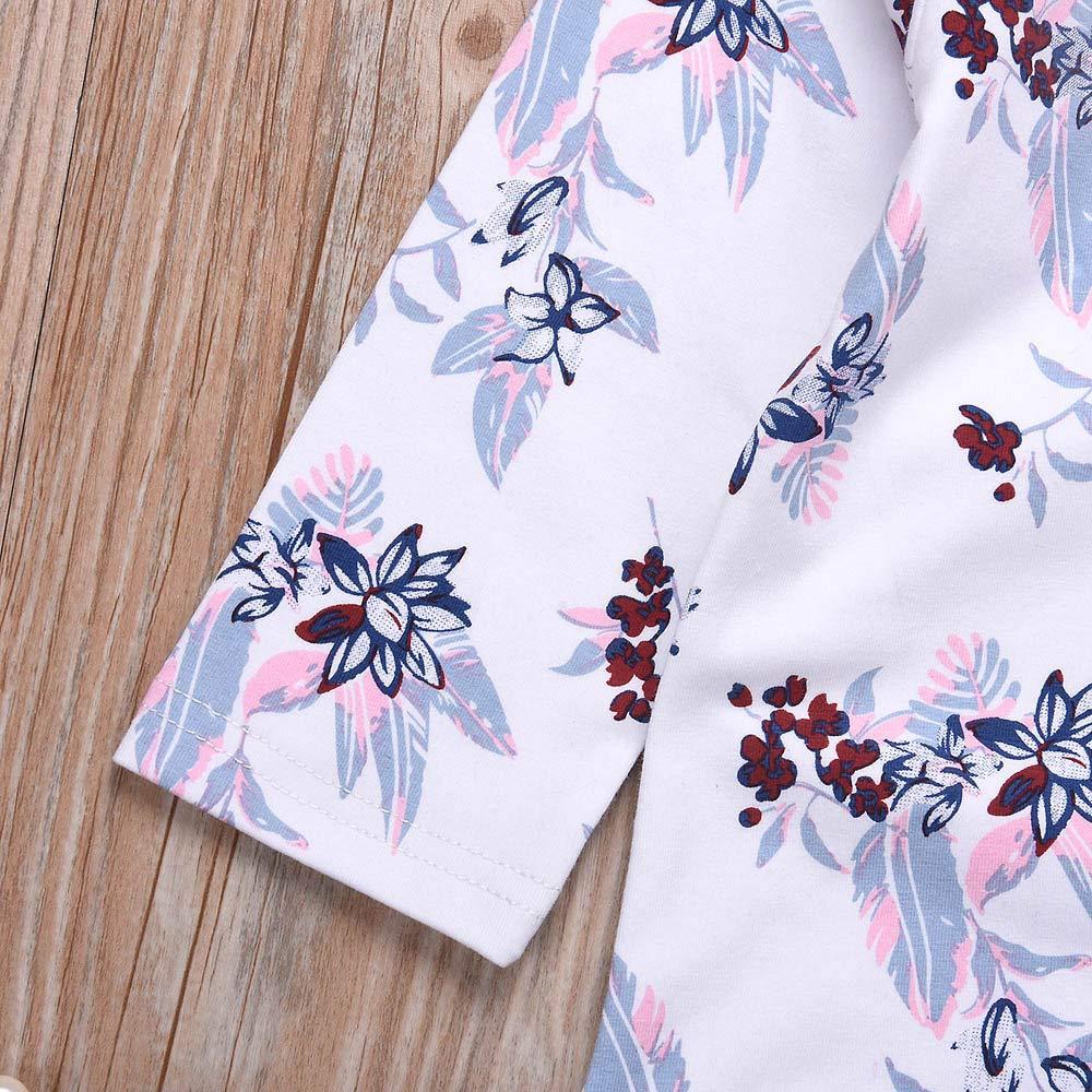 Gonxifacai Newborn Infant Baby Girls Romper Jumpsuit Denim Floral Cross Bandage Ruffles Long Sleeve