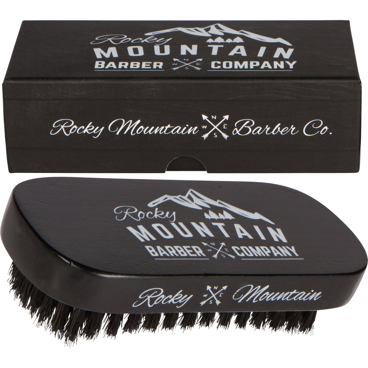 Men's Hair Brush- 100% Pure Black Boar Hair Natural Bristle for Beard, Moustache - Firm Military Style with Handmade Wood Handle – No Snags, No Scratch, Gentle Bristle Comb that Can be Used with Beard Oil & Beard Wax– BONUS Gift Box Rocky Mountain Barb