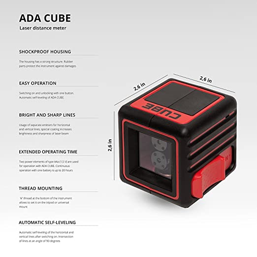 ADA Cube Basic Edition Crossline Self Leveling Laser Level Kit 20 Meters 65 Feet Vertical And Horizontal Lines Batteries User Manual Included