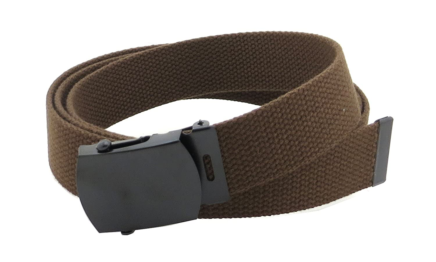 Canvas Web Belt Military Style with Black Buckle and Tip 56 Long Many Colors webblackbuckle-black