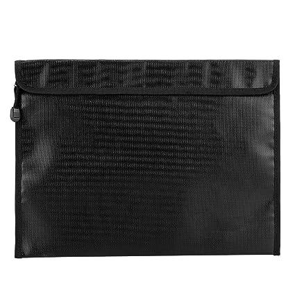 negro, peque/ño Bolsa resistente al agua de dos tama/ños a prueba de fuego ligera y segura para el pasaporte en efectivo