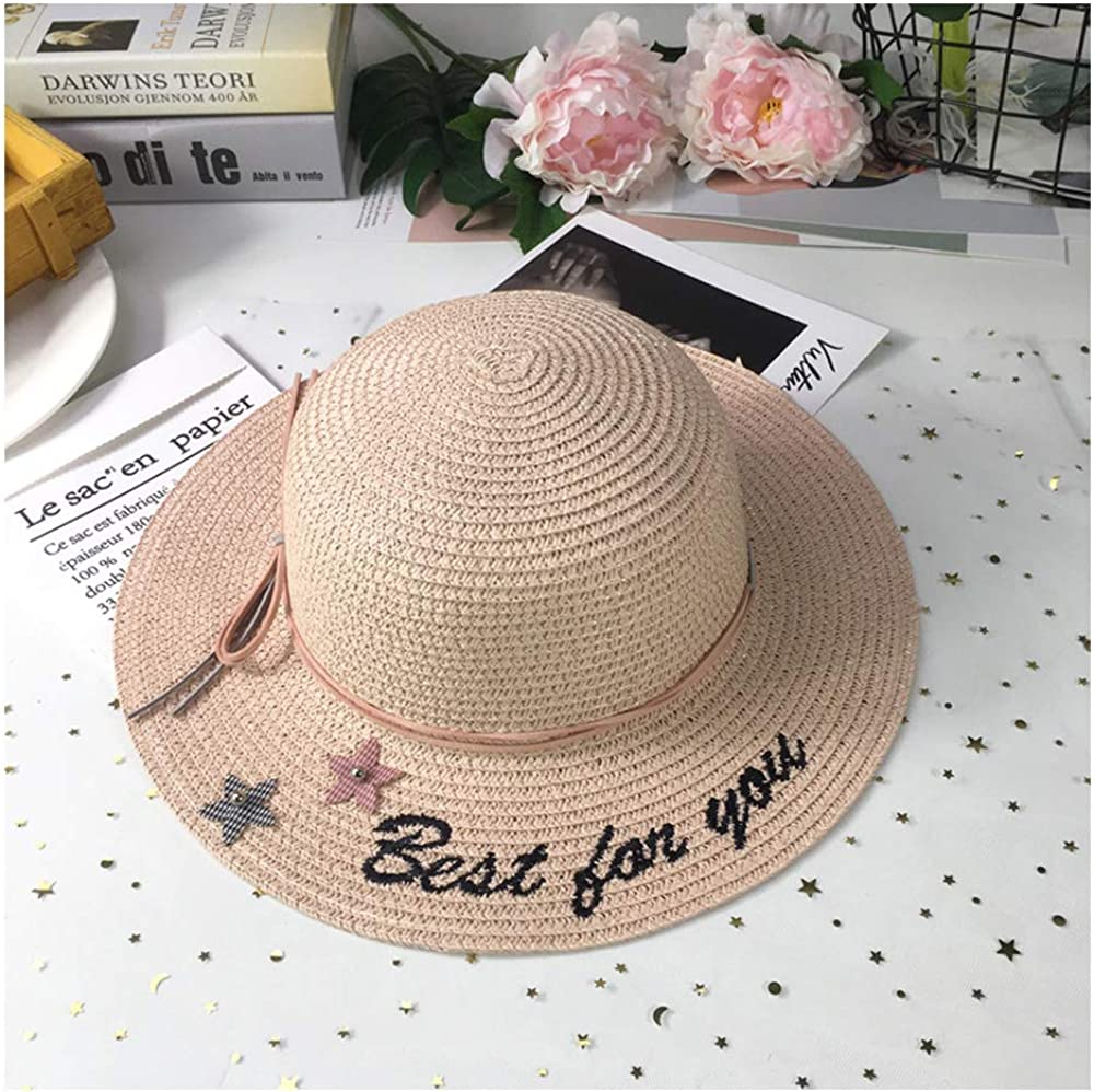 Light Pink QTKJ Girls Boys Floppy Beach Sun Hat Wide Brim Summer Embroidered Lettering Straw Hats with 2 Stars and Bow