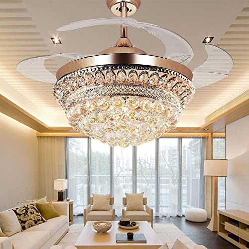 BIGBANBAN Bling Crystal Chandelier Ceiling Fan,42' Retractable Ceiling Fan