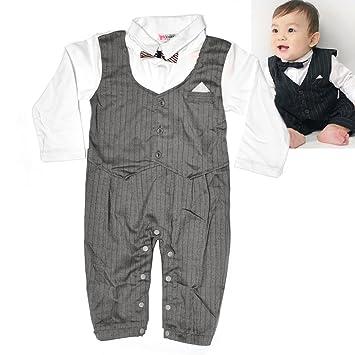 10d6211cea05c Amazon.com : Baby Boy Suit One-pieces Wedding Tuxedo Bow Tie Gentleman  Romper with Vest (100cm, grey) : Baby