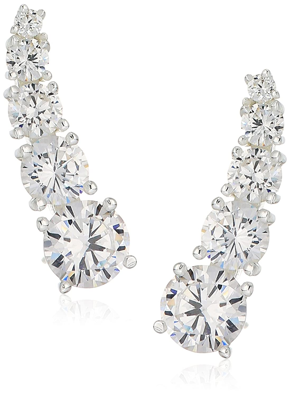 925 Sterling Silver AAA Cubic Zirconia Graduated Ear Cuffs (3.38 cttw)