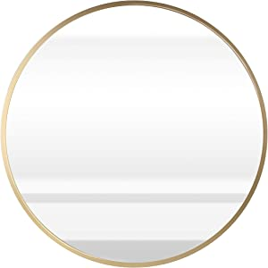 """ABZQH Round Mirror for Wall, 23.6"""" Gold Circle Mirror Large Wall-Mounted Aluminum Alloy Frame Decorative Mirror for Bathroom Vanity Entryways Wall Decor"""
