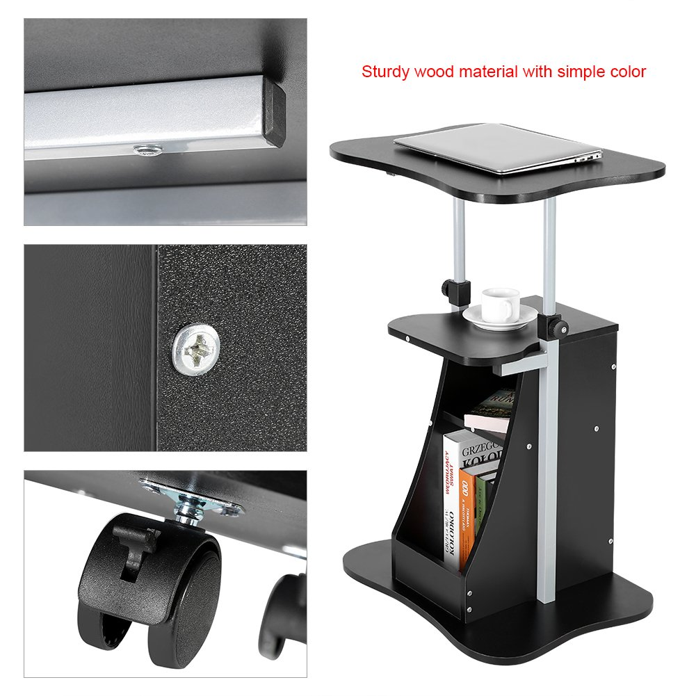 Adjustable Laptop Cart-Height Adjustable Computer Desk Standing Notebook Desk Table Storage Compartment with Wheel New (Black)
