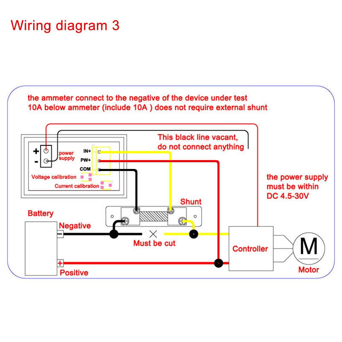 Drok Digital Current Tester Multimeter Dc 100v Volt 2a Wiring Diagram 300v Electric Motorcycle Ampere Battery Monitor Gauge 2in1 Red Blue 2 Color Led Display Car Automotive 12v 24v