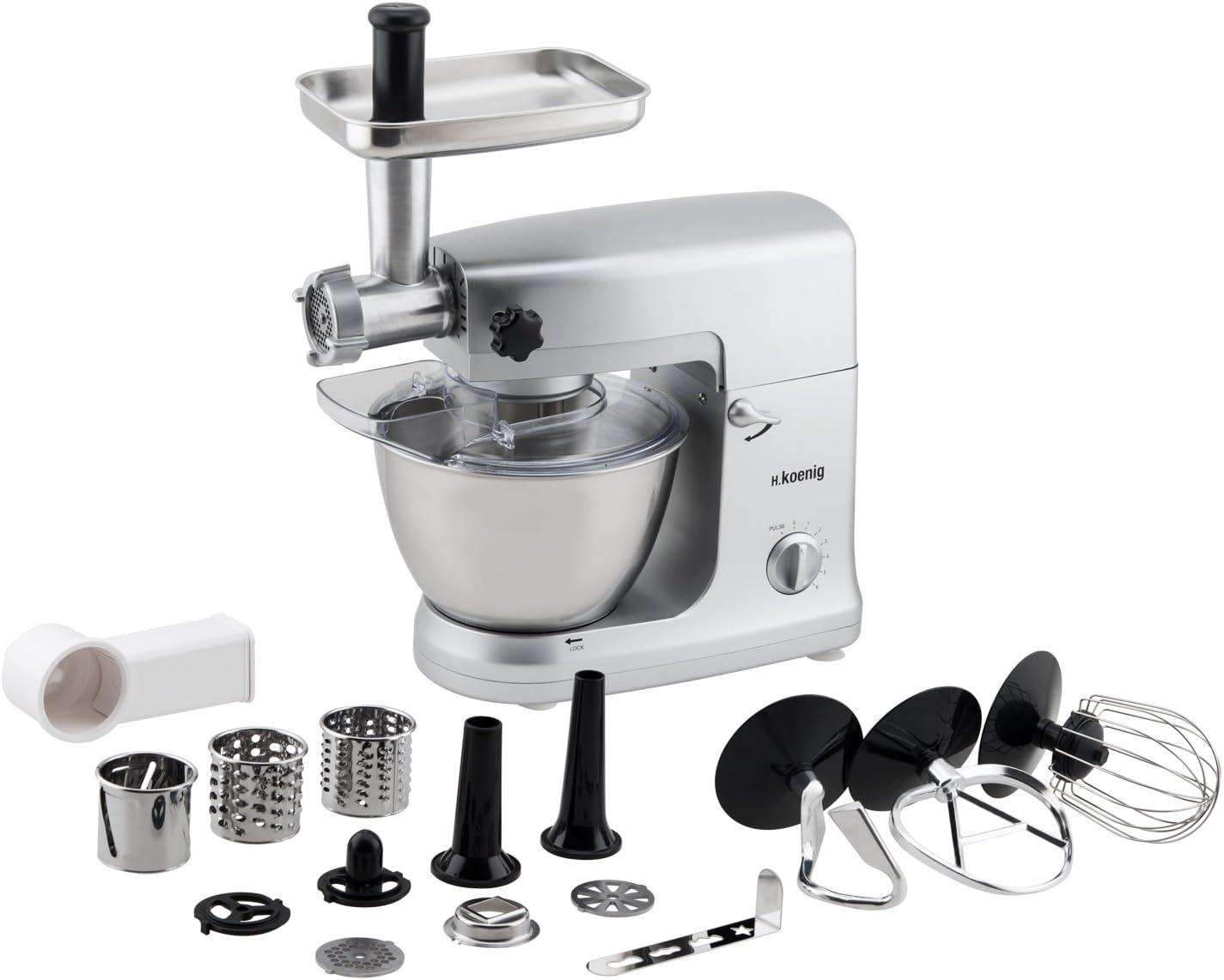 H.Koenig KM 65 KM65-Robot de Cocina multifunción, batidora amasadora, 5 l, 1000 W, Acero Inoxidable: Amazon.es: Hogar