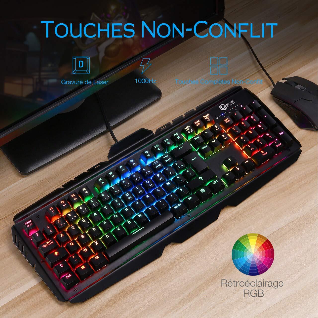 OMBAR Clavier Gaming Mécanique AZERTY, Rétroéclairage RGB Personnalisable