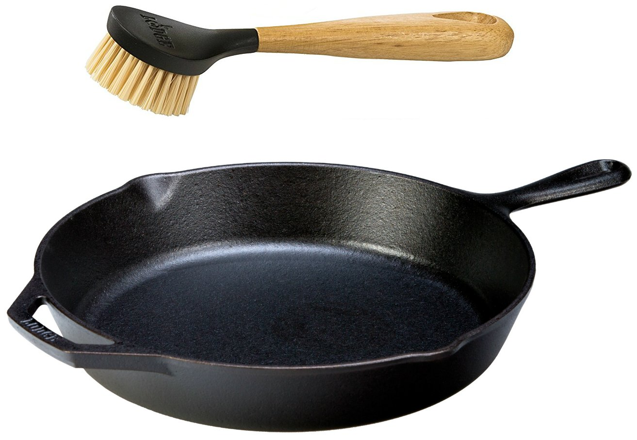 "Lodge Seasoned Cast Iron Skillet w/Scrub Brush- 12"" Cast Iron Frying Pan With 10"" Bristle Brush"