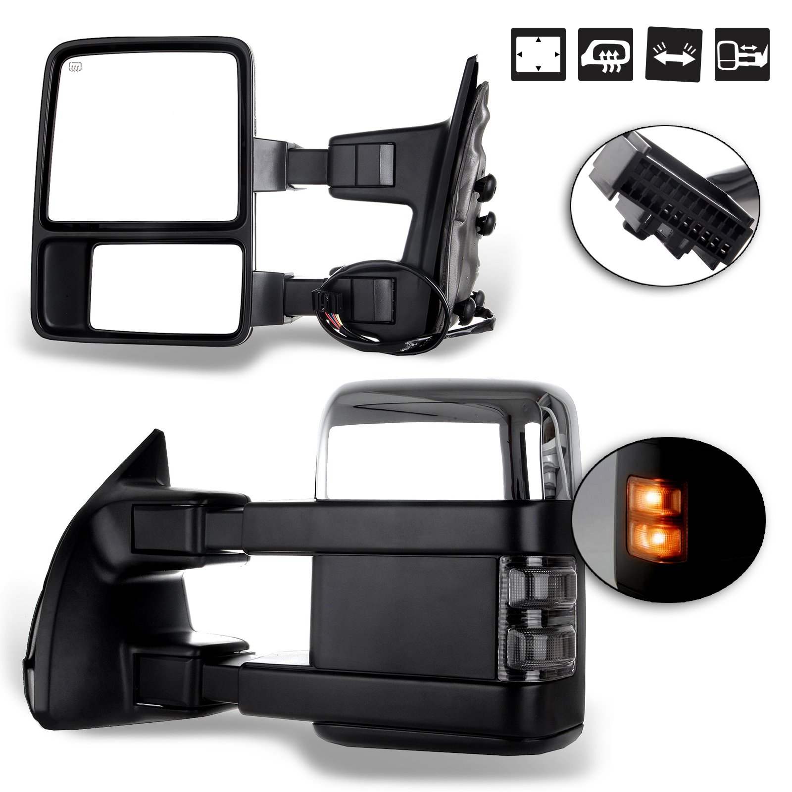 SCITOO fit Ford Towing Mirrors Chrome Rear View Mirrors fit 2008-2016 Ford F250 F350 F450 F550 Super Duty Truck Larger Glass Power Control, Heated Turn Signal Manual Extending Folding by SCITOO