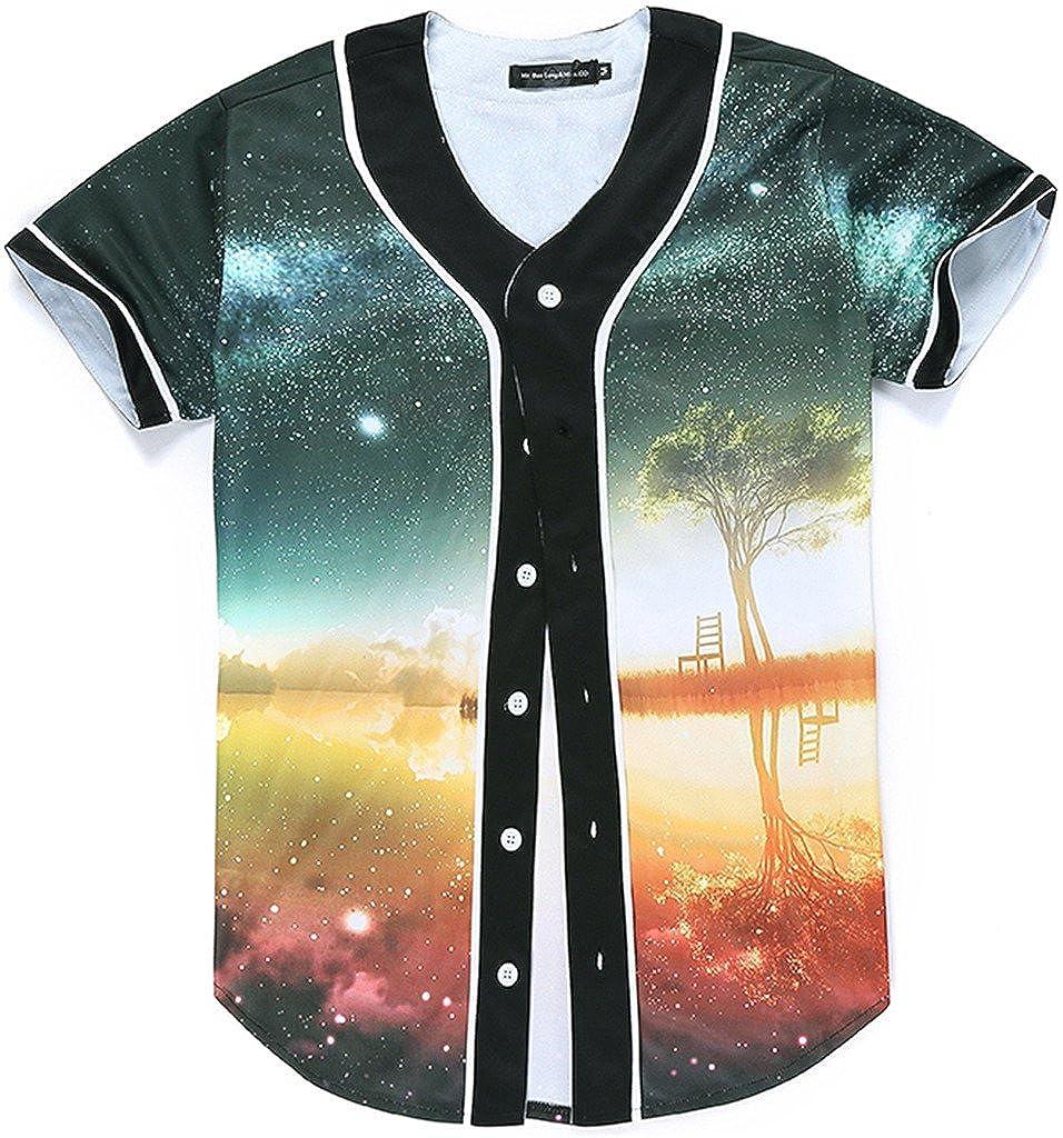 Pizoff Unisex Arc Bottom 3D Print Baseball Team Jersey Shirt Y1724