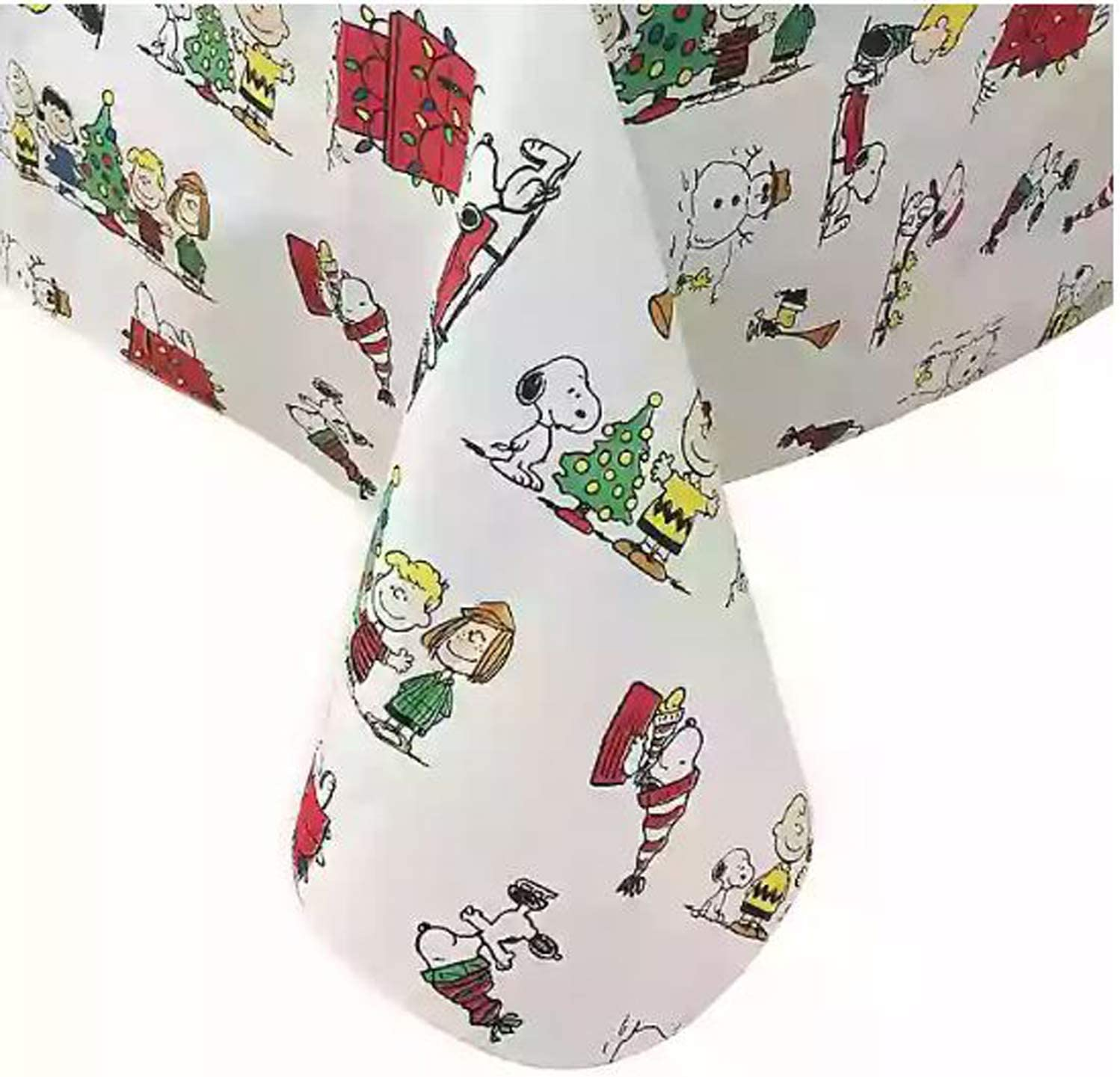 Amazon Com Peanuts Holiday Vinyl Tablecloth Oblong Waterproof Christmas Table Cover 100 Polyester Flannel Backing Table Cloth Perfect For Kids Christmas Parties Choose Your Table Size 60 X 120 Kitchen Dining