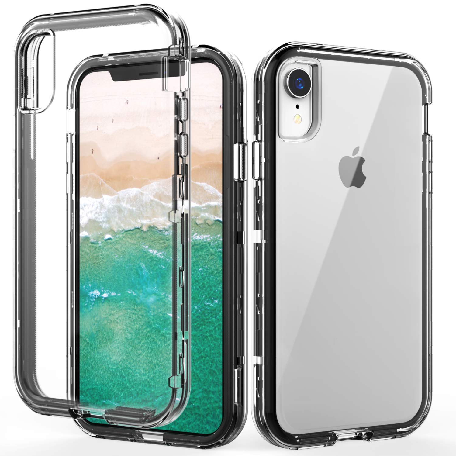 SKYLMW iPhone XR Case,Shockproof Anti-Scratch Three Layer Protection Hard Plastic & Soft TPU Sturdy Shockproof Armor High Impact Resistant Cover Case for iPhone XR 2018(6.1 inch),Clear