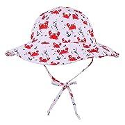 SimpliKids UPF 50+ UV Sun Protection Wide Brim Baby Sun Hat,Crab,0-12 Months