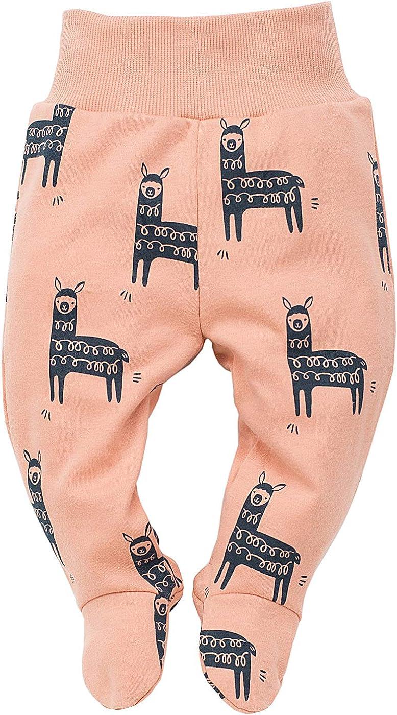 Cintura el/ástica Naranja Happy Llama Pantalones//Pantalones Mameluco 100/% de algod/ón beb/é Turquesa Pantalones de sue/ño con los pies Pinokio