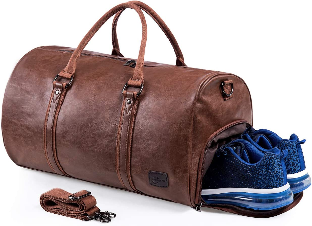handmade Genuine Leather Weekender Travel Bag Duffle Bags for Men and Women Red