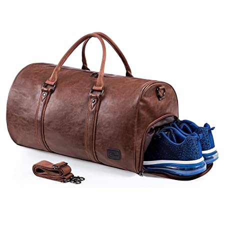 Weekender Oversized Travel Duffel Bag With Shoe Pouch, Leather Carry On Bag Brown by Seyfocnia
