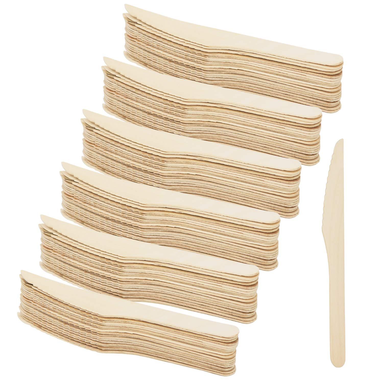 COM-FOUR® 120x Cubiertos desechables de cuchillo de madera ...