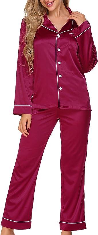 ADOMER Mujer Pijama 2 Piezas Satén Camiseta Raso Prenda Manga Larga Ropa Dormir