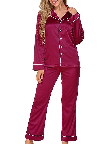 ADOMER Mujer Pijamas Set de Camiseta+Pant Ropa Interior Dormir Prenda(Rojo S)