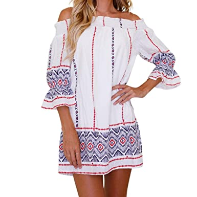 2d6cb4fbb008d Summer Dress, Tloowy Women Off Shoulder 3/4 Sleeve Boho Beach Dress  Sundress Shift