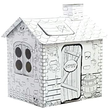 My Rattan Playhouse, 34.25 Inch Tall Corrugated Cardboard, Coloring ...