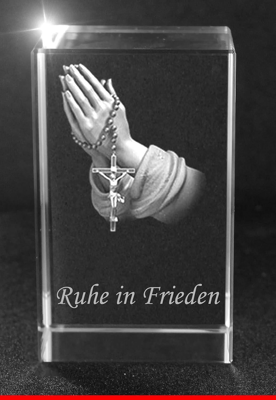 Amazon.de: VIP-LASER 3D Glaskristall Quader XL mit betenden Händen ...