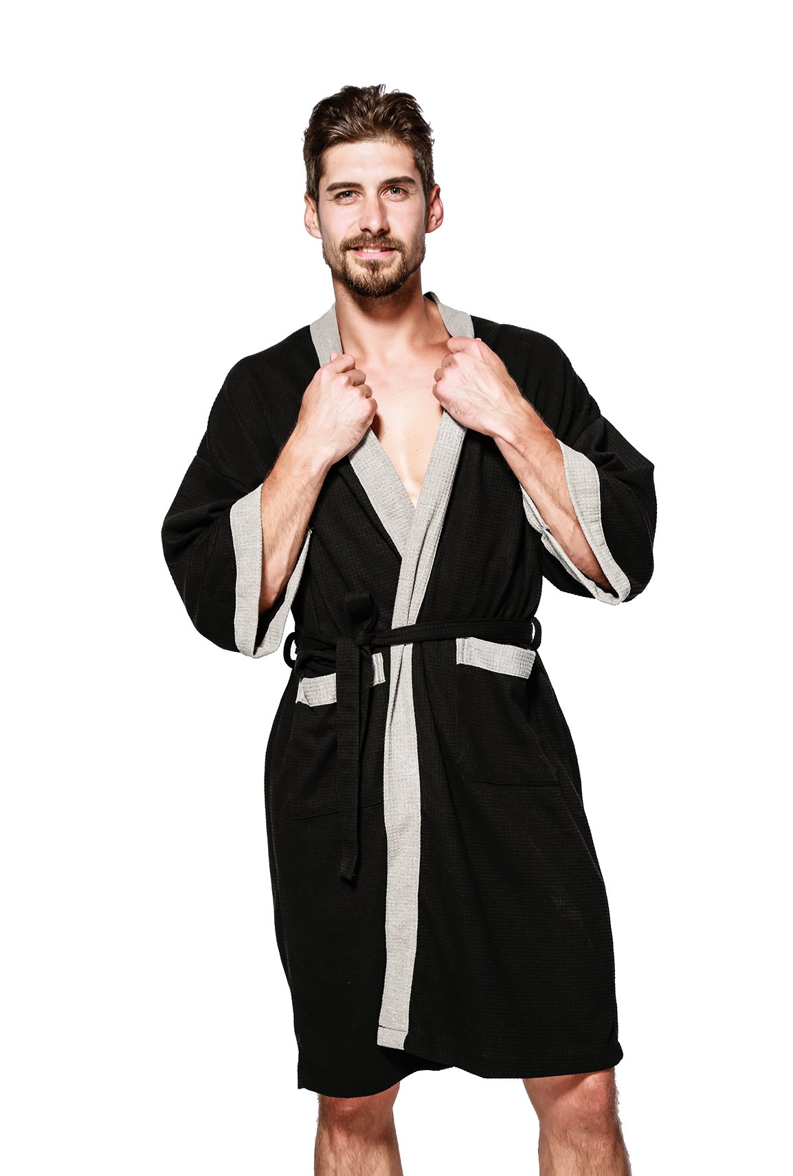 Jearey Men's Kimono Robe Cotton Waffle Spa Bathrobe Lightweight Soft Knee Length Sleepwear with Pockets(Black-Grey, L)