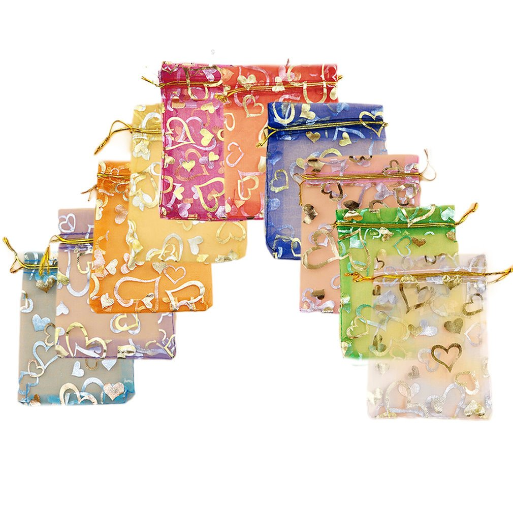 25 x Premium Quality design:stars, flowers, moon, gift organza jewellery pouches: gold, silver, pink red, 7cmx7cm by Fat-catz-copy-catz small organza bags