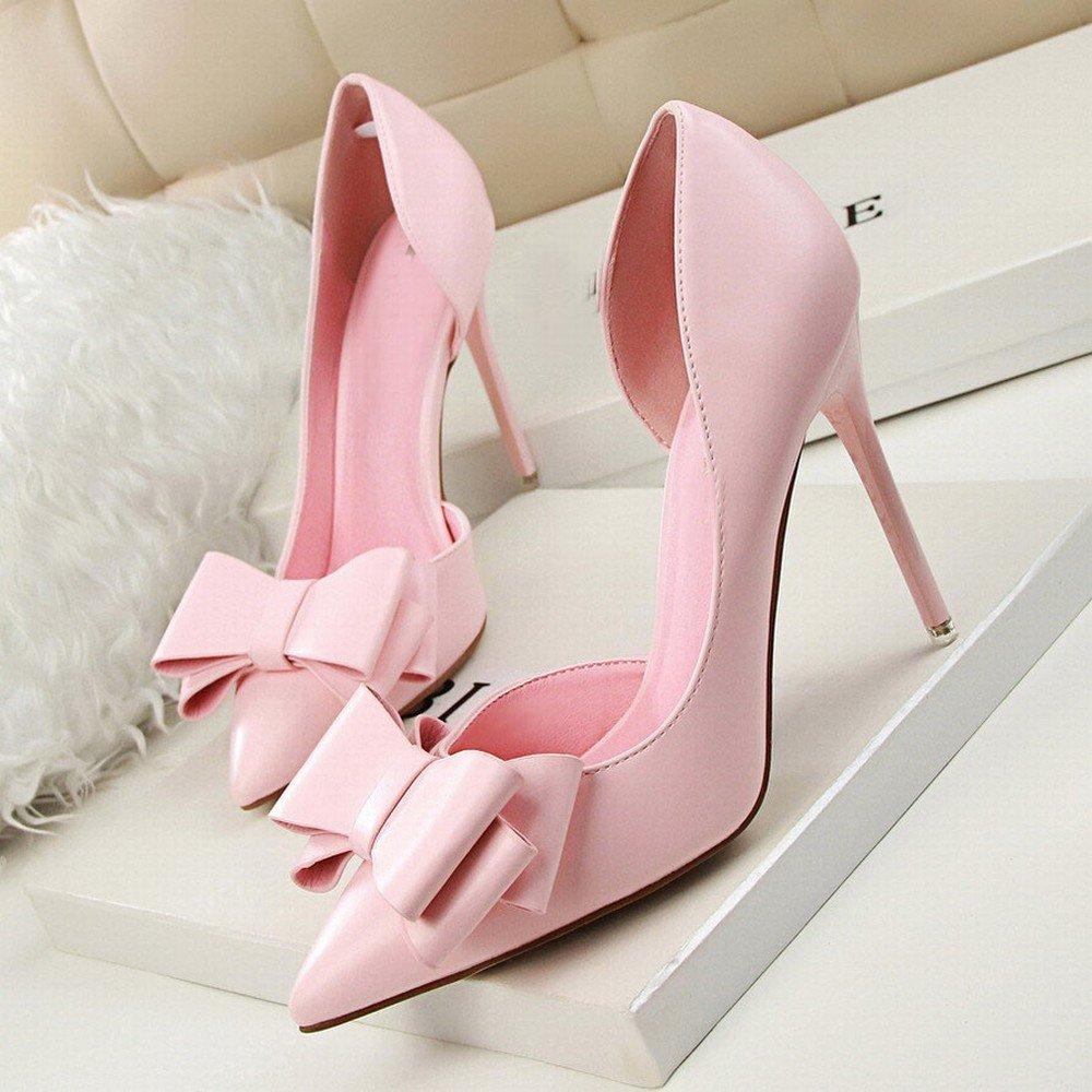 DIDIDD Modische Süße Stöckelschuhe mit Hochhackigen Flachen Spitzen Spitzseite der Hohlen Schuhe Ein 36