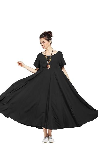 38f4ad4ce0d Anysize Soft Dress Linen Cotton Spring Summer Plus Size Maxi Dress Y6 Black