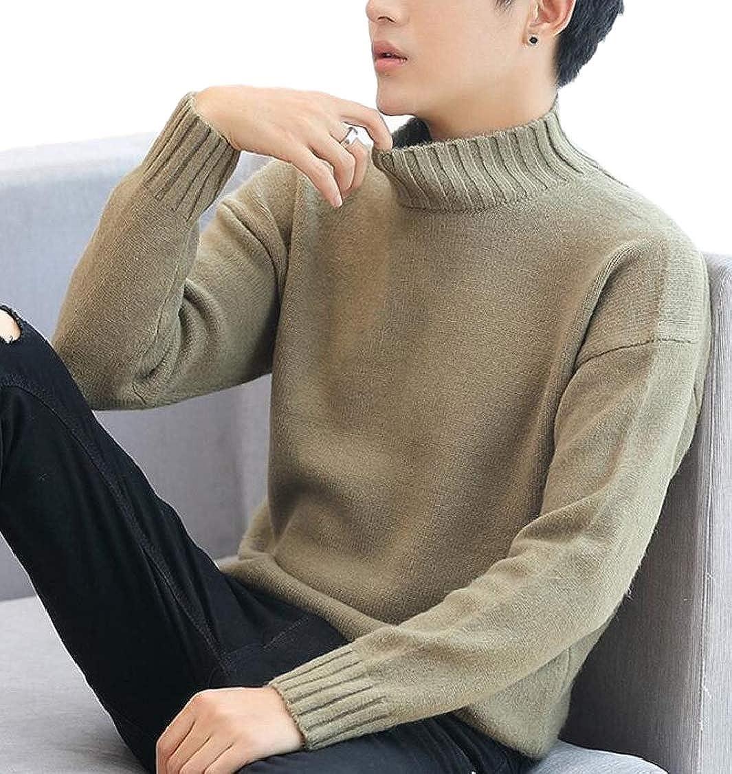 XQS Mens Slim Solid Color Turtleneck Jumper Pullover Knitwear Mock Sweater